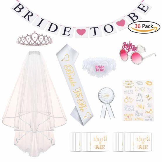 Hen Party Accessories Bride to Be Sash Set Including Bride Sash, Rhinestone Tiara Crown, Tattoos, Bride Sunglasses, Bride Garter, Bride Banner, Rosette Badge, Hen Party Veil with Comb for Hen Night