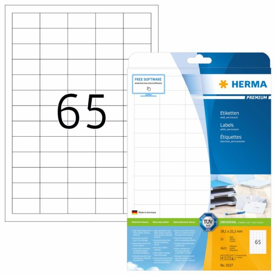 HERMA Self Adhesive Multi-Purpose Labels, 65 Labels Per A4 Sheet, 1625 Labels For Laser And Inkjet Printers, Small, 38.1 x 21.2 mm (5027)