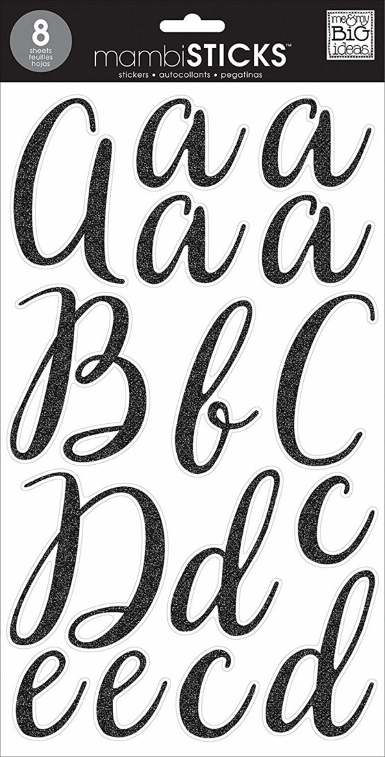 me & my BIG ideas Large Word Stickers-Victoria Cursive Black Glitter, Other, Multicoloured, 0.5×19.05×35.56 cm